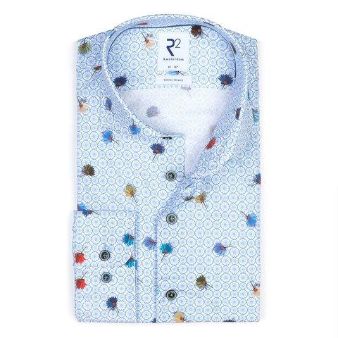 Blue flower print stretch cotton shirt.