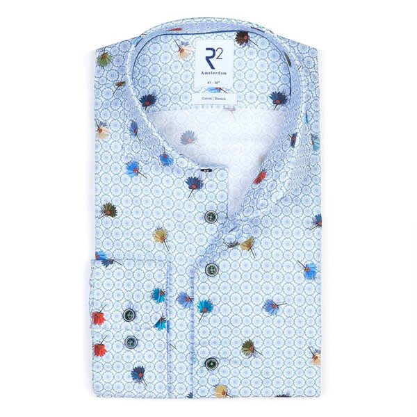 R2 Blue flower print stretch cotton shirt.