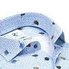 Blaues Blumendruck Stretch Baumwollhemd.