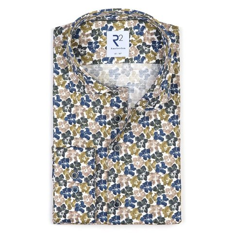 Green flower print dobby cotton shirt.