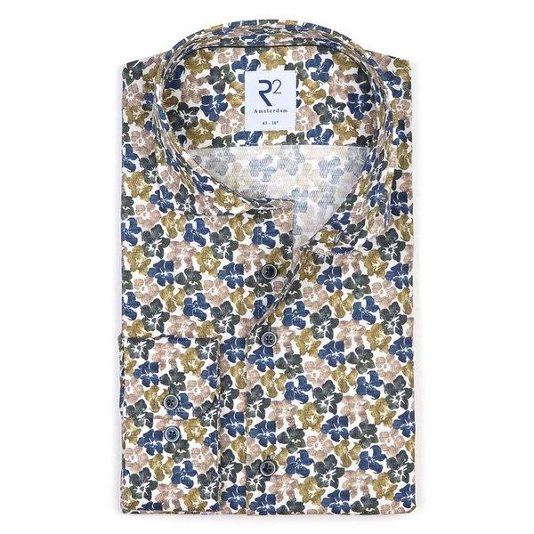 R2 Green flower print dobby cotton shirt.