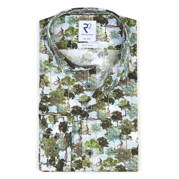 R2 Green Amsterdam parks print stretch cotton shirt.