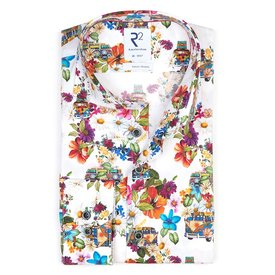 R2 Multicolor VW-Bus Druck Stretch-Baumwoll-Shirt.