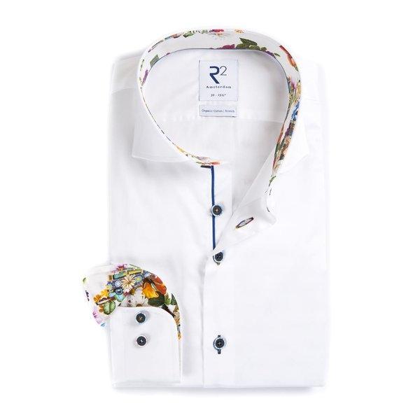 R2 White cotton 2 PLY shirt.