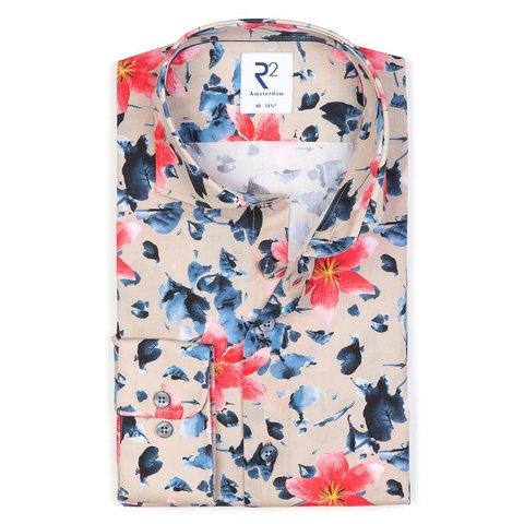 Mehrfarbig Blumendruck Baumwollhemd.