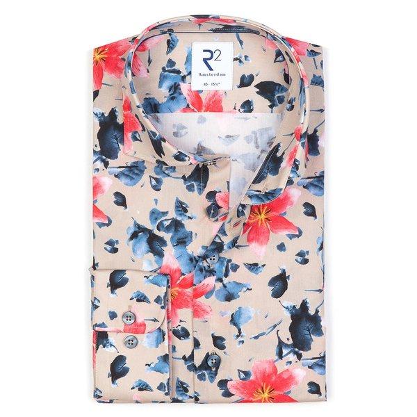 R2 Meerkleurig bloemenprint katoenen overhemd.