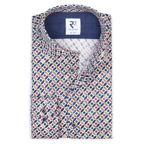 R2 Multicolour circle print dobby cotton shirt.