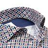 Meerkleurig cirkelprint dobby katoenen overhemd.