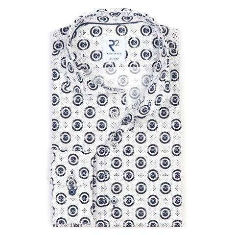 Wit stippenprint katoenen overhemd.