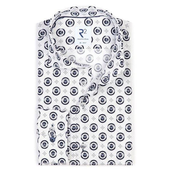 R2 Weißes Punktdruck Baumwollhemd.
