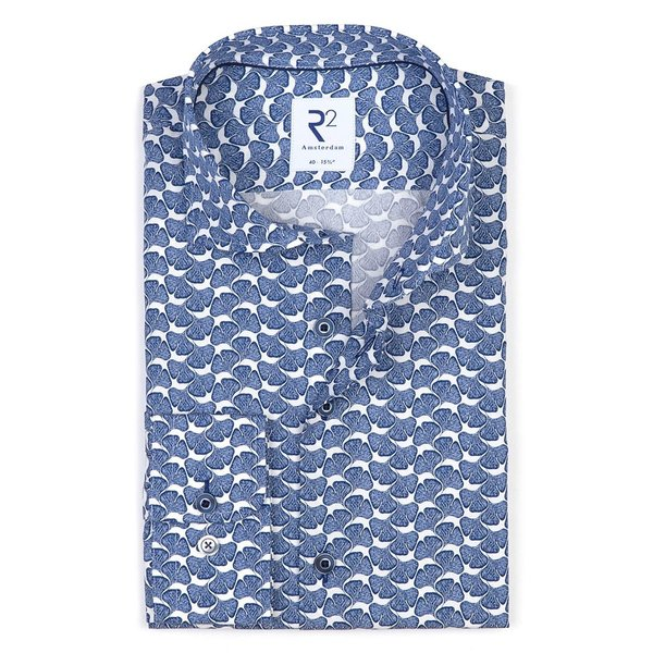 R2 Blue flower print cotton shirt.