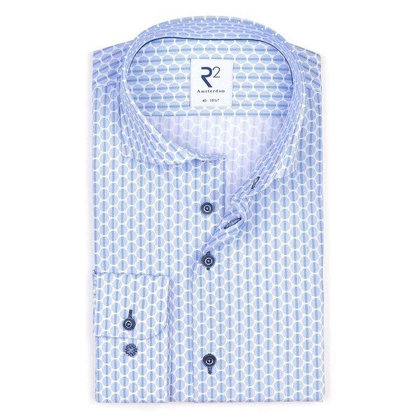 R2 Hellblaues Punktedruck Baumwollhemd.