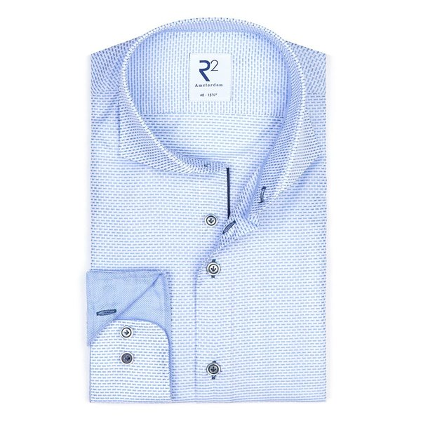 R2 Lichtblauw dobby katoenen overhemd.