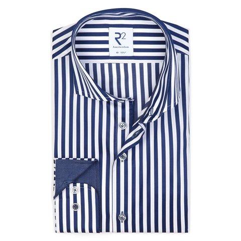 Navy blauw gestreept 2 PLY katoenen overhemd.