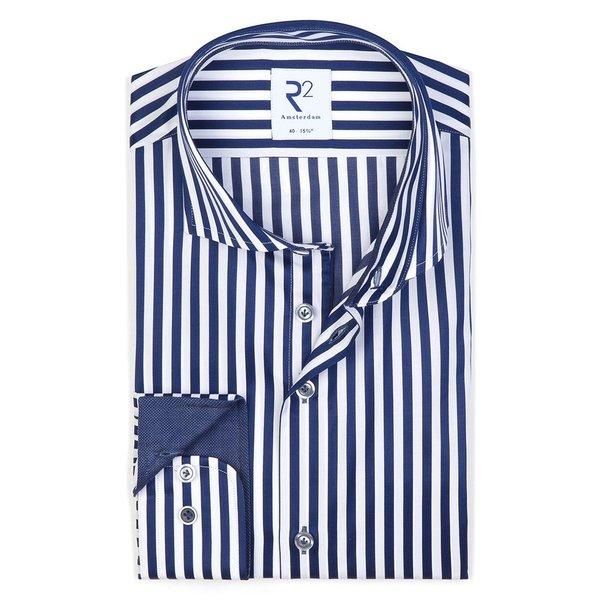R2 Navy blauw gestreept 2 PLY katoenen overhemd.