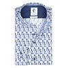 Blauw waterdruppelprint stretch katoenen overhemd.