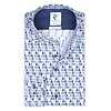 Blue waterdrop print stretch cotton shirt.