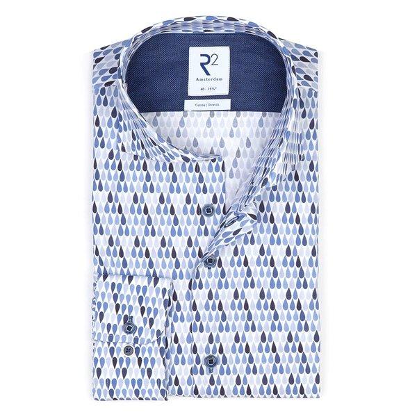 R2 Blauw waterdruppelprint stretch katoenen overhemd.