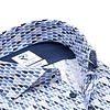Blaues Wassertropfen-Print Stretch Baumwollhemd.