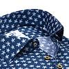 Kobalt blauw bloemenprint 2 PLY Organic cotton overhemd.