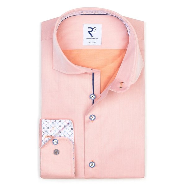 R2 Oranje 2 PLY katoenen overhemd.