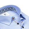 Extra lange mouwen. Licht blauw pied de poule 2 PLY stretch organic cotton overhemd.