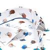 Extra lange Ärmel. Weißes Blumendruck Stretch Baumwollhemd.