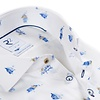Extra lange mouwen. Wit Hollandse print organic cotton overhemd.