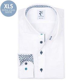 R2 Extra lange Ärmel. Weißes 2 PLY Baumwollhemd.