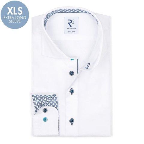 Extra lange Ärmel. Weißes 2 PLY Baumwollhemd.