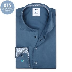 R2 Extra long sleeves. Blue 2 PLY cotton shirt.