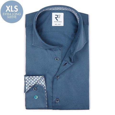 Extra lange mouwen. Blauw 2 PLY katoenen overhemd.