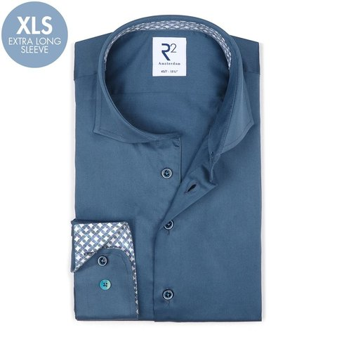 Extra long sleeves. Blue 2 PLY cotton shirt.