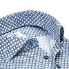 Extra lange mouwen. Blauw cirkelprint dobby katoenen overhemd.