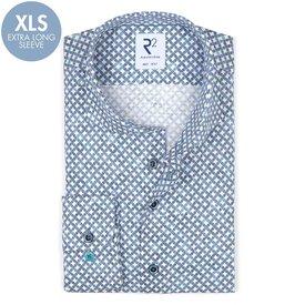R2 Extra long sleeves. Blue circle print dobby cotton shirt.