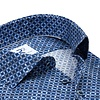 Extra lange Ärmel. Marineblaues Kreisdruck Dobby Baumwollhemd.