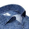 Extra lange mouwen. Navy blauw cirkelprint dobby katoenen overhemd.