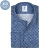 Extra long sleeves. Navy blue circle print dobby cotton shirt.