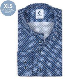 R2 Extra long sleeves. Navy blue circle print dobby cotton shirt.