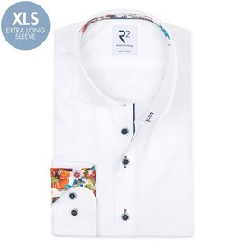 R2 Extra long sleeves. White cotton shirt.