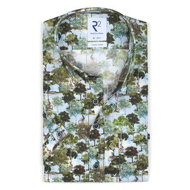 R2 Short sleeves Amsterdam parks print stretch cotton shirt.