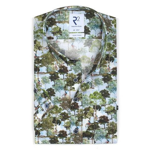 Short sleeves Amsterdam parks print stretch cotton shirt.