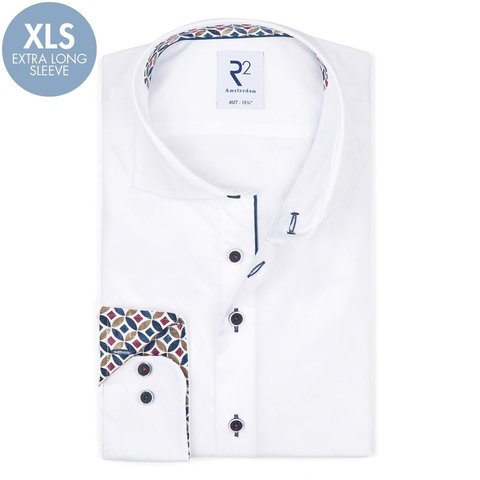 Extra long sleeves. White 2 PLY cotton shirt.