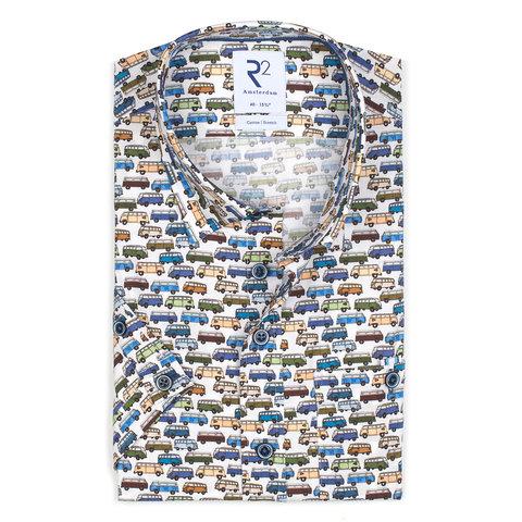 Short sleeves VW bus print stretch cotton shirt.