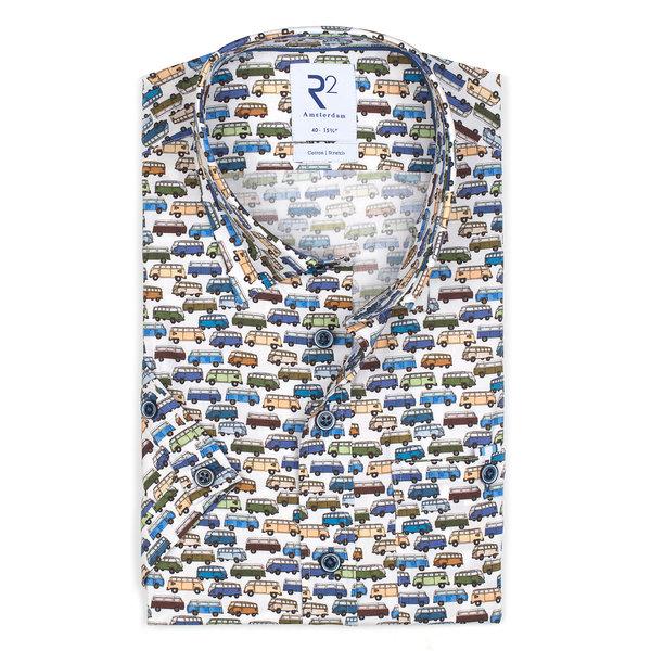 R2 Short sleeves VW bus print stretch cotton shirt.