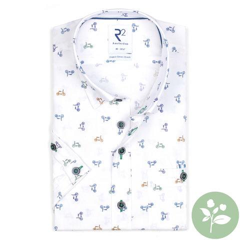Short sleeves white cycling print organic cotton shirt.