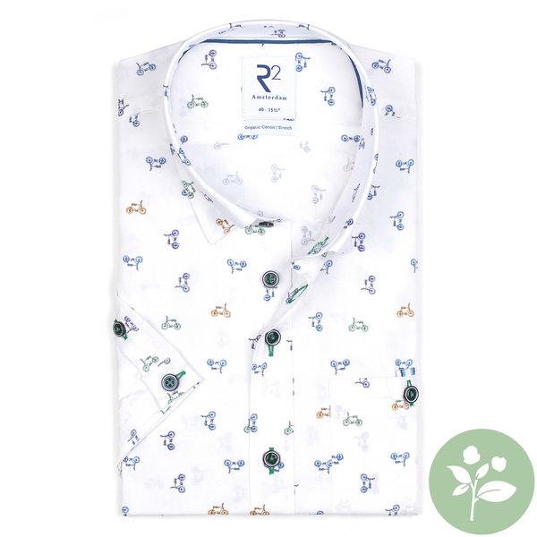 R2 Short sleeves white cycling print organic cotton shirt.