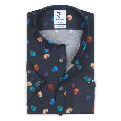 Short sleeves cobalt blue flower print stretch cotton shirt.