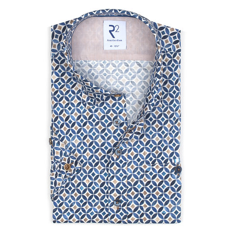 Kurzärmeliges blaues Grafikdruck Dobby Baumwollhemd.