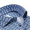 Extra lange Ärmel. Blaues Blumendruck Baumwollhemd.